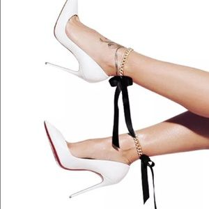 Jewelry - PAIR Gold & Black Ribbon Ankle Bracelets